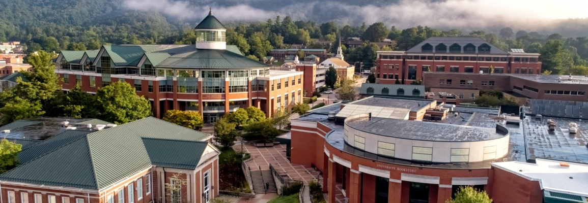 Aerial view of the App State campus